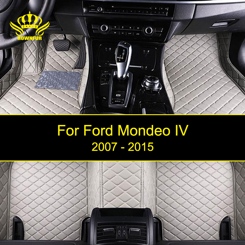 Artificial Leather Car Floor Mats For Ford Mondeo IV Custom Waterproof Artificial Leather Floor Carpet Mats Interior Car Mats interior leather custom car styling auto floor mats
