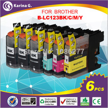 6X Ink Cartridges for Brother LC123 mfc-J4510DW MFC-J4610DW Printer Ink Cartridge LC 123 MFC-J4410DW J4710DW(China (Mainland))