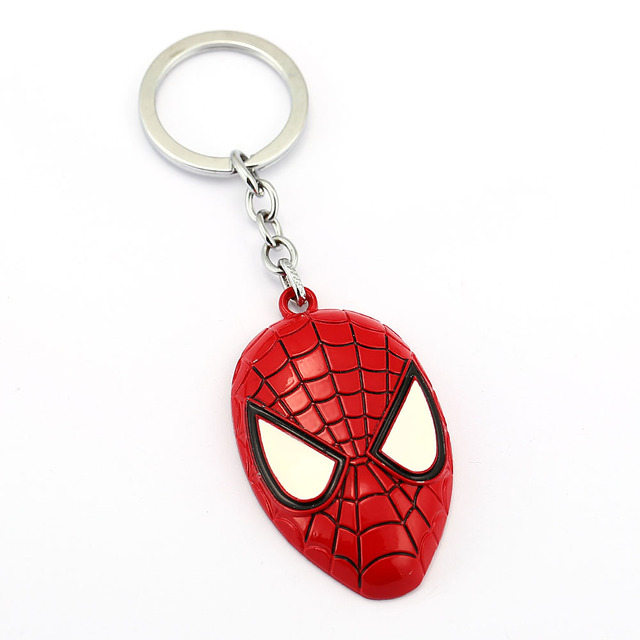 wholesale 6 PCS Movie Jewelry Spiderman Keychain The Amazing Spider man Mask Keyring Metal Toy Pendant Key Chain ring souvenirs