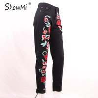ShowMi Spring Black Women Embroidered Jeans 3D Rose Embroidered High Waist Boyfriend Women Denim Jeans Plus