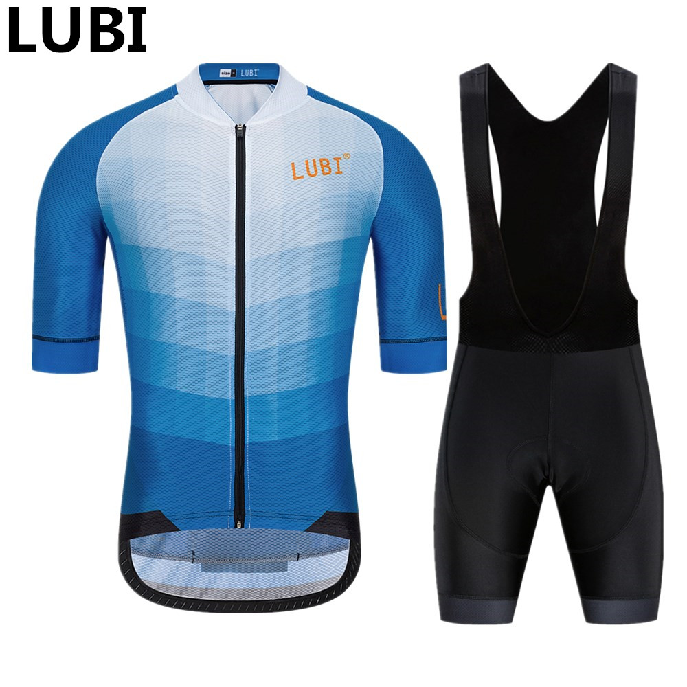 LUBI 2019 Men Summer Pro Cycling Jersey Set Wear High Density Sponge Pad Anti-UV MTB Tights Clothes Kit Bike Clothing Road Suit