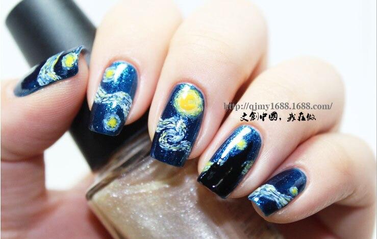 Van Gogh Starry Night Painting Nail Art Sticker Foils Decal Patch Diy Decoration
