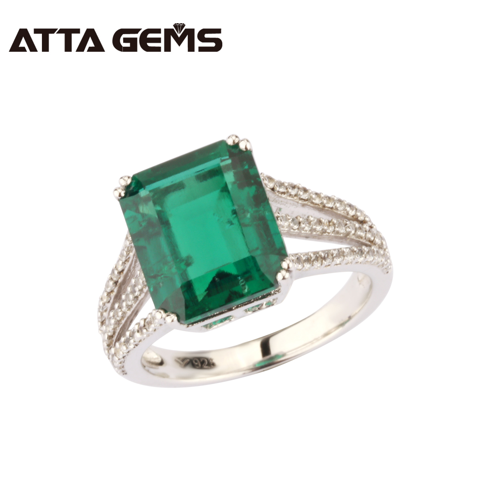 Green Emerald 925 Sterling Silver Ring 6 Carats Emerald Solid Silver For Women Classical Style Fashion And Popular Silver Ring punk style solid color hollow out ring for women