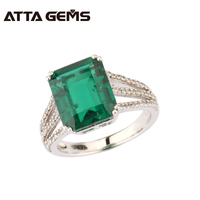 2016 New Octangon EMERALD Woman 925 Sterling Silver Ring Russian EMERALD Ring Sets Pure Solid 925