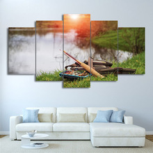 Modular Pictures Home Decor Canvas Wall Art 5 Pieces Lake Fishing Rod Painting Living Room HD Printed Sunset Poster No Framed