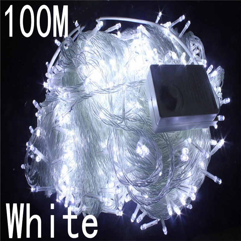 white colour 100 meter 800 LED Christmas Lights 8 Modes for Decorative Christmas Holiday Wedding Parties Indoor / Outdoor Use blue colour 100 meter 800 led christmas lights 8 modes for decorative christmas holiday wedding parties indoor outdoor use