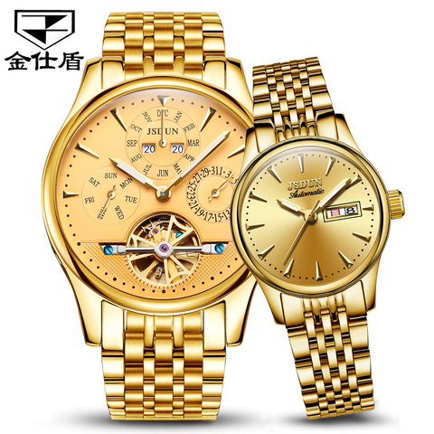 Relógios de Casal Mecânico Preço Suíça Ouro Aço Inoxidável Relógio Masculino Data Luxo Automático Reloj 1pc