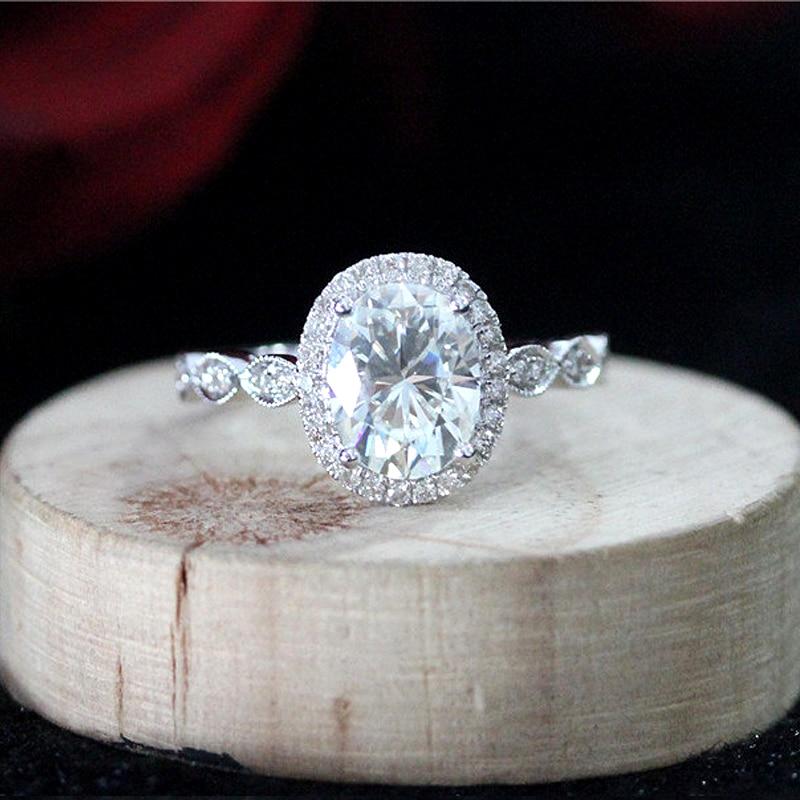 14K White Gold Halo Moissanite Ring 7x9mm 2.0ct Carat Oval Cut Brilliant Moissanite Engagement Ring for Women