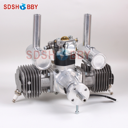 XYZ Two Cylinder 53CC Gasoline Engine/ Petrol Engine with Walbro Carburetor, CM6 Spark Plug 27 5cc 2t 4 bolt gasoline engine walbro 668 carburetor ngk spark plug 7000 light clutch fits hpi baja 5b losi 5ive t redcat