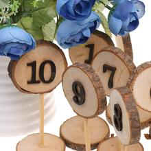 Rustic Wooden 1-10 Table Numbers Place Numbers Log Slices Stick Stand Wedding Birthday Party Baby Shower Decor