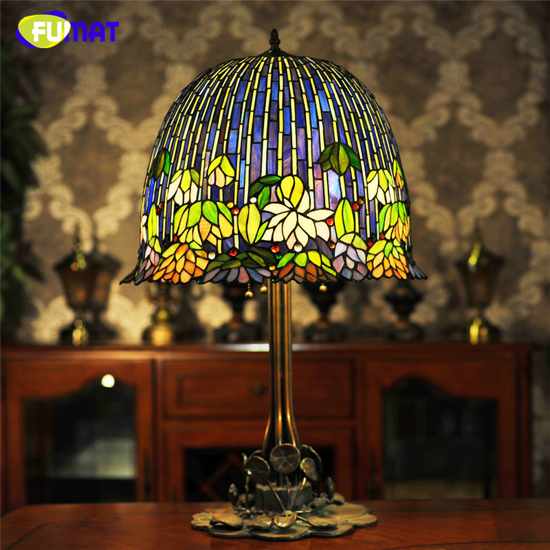Fumat glass art table lamp quality european style water lily bedside lamp stained glass shade hotel bar living room stand lamps in table lamps from lights