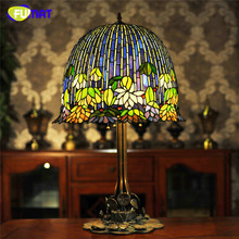 FUMAT Glass Art Table Lamp Quality European Style Water Lily Bedside Lamp Stained Glass Shade Hotel Bar Living Room Stand Lamps