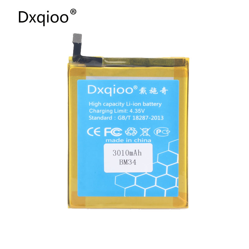 Dxqioo Mobile phone battery fit for xiaomi mi note 4gb ram mi note pro bm34 batteries