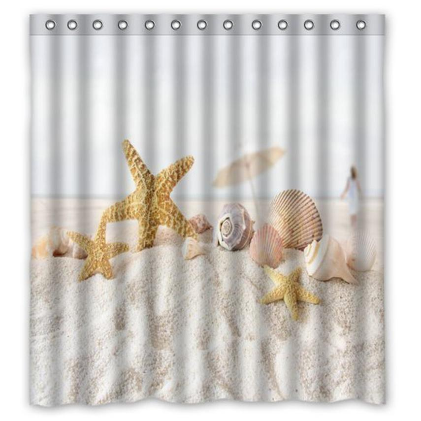 Lighthouse Sea Seashell Sandy Starfish Waterproof Fabric Shower Curtain /& Hooks