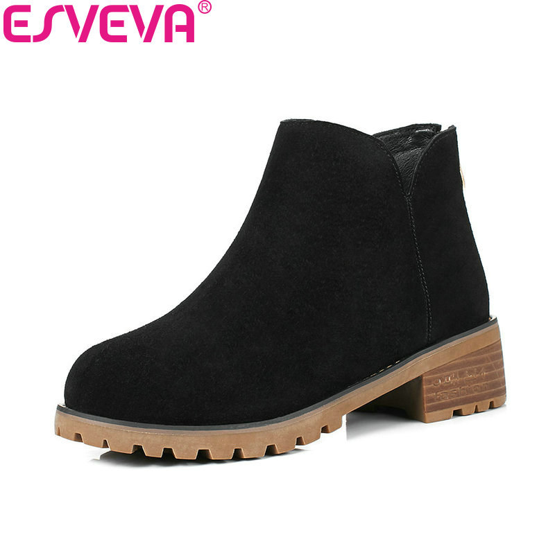 ESVEVA 2018 Women Boots Square Med Heel Ankle Boots Lining PU/synthetic Handmade Cow Suede Round Toe Boots for Women Size 34-40 esveva 2018 women boots zippers black short plush pu lining pointed toe square high heels ankle boots ladies shoes size 34 39