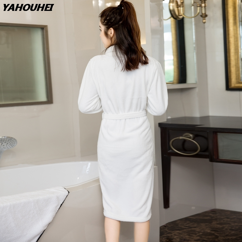 2019 Winter Fashion Korean Thick Warm White Flannel Robes For Women Long Sleeve Coral Velvet Bathrobes Female Sleepwear Homewear