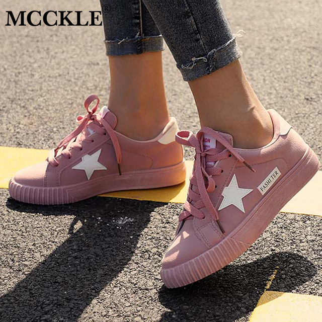 fb7dc7a0bf38 MCCKLE Fashion Flat Lace Up Platform Five Pointed Star Women Vulcanize Shoes  Female Spring Causal Sneakers Plus Size