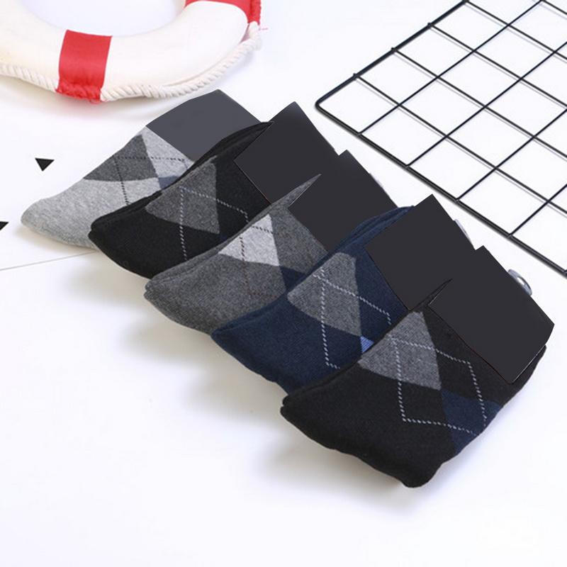 NIBESSER 5Pair/Set Fashion Geometric Pattern Socks Men Printed Breathable Crew Socks Sportsmen Business Socks Man Autumn New