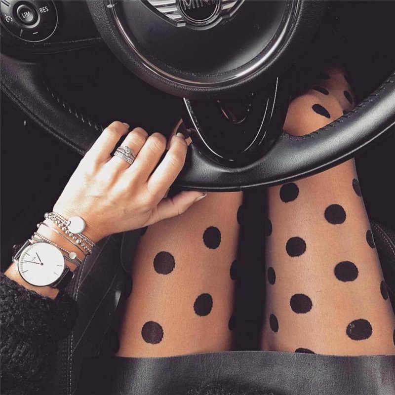 Nieuwe Mode Zwart En Wit Vrouwen Mooie Littile Dot Stijl Patroon Jacquard Super Dunne Zijden Panty Panty Groothandel