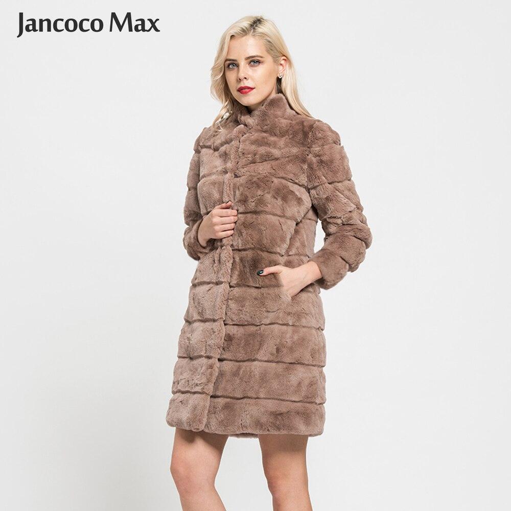 Jancoco Max 2018 Nouveau Arrivée Réel Rex De Fourrure De Lapin Manteaux D'hiver De Mode Style De Fourrure Veste Long Manteau Pour Les Femmes Survêtement s7170