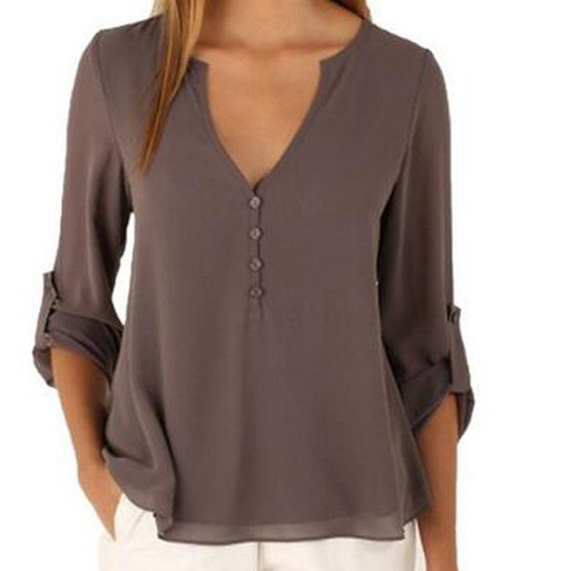 Blusa de las mujeres Tops Marca de Moda Camisas Blusas de Gasa Más El Tamaño S-5