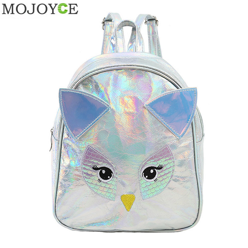 Women Cartoon Animal Laser Backpack Waterproof Female Small Bags PU Leather Holographic Mochila Zipper Backpacks For TeenageWomen Cartoon Animal Laser Backpack Waterproof Female Small Bags PU Leather Holographic Mochila Zipper Backpacks For Teenage
