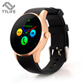 TTLIFE Marca Monitor de Freqüência Cardíaca Smartwatch Montre Relógio Inteligente De Metal Redondo Com Cartão SIM Conector K88S Samsong Android IOS Telefone