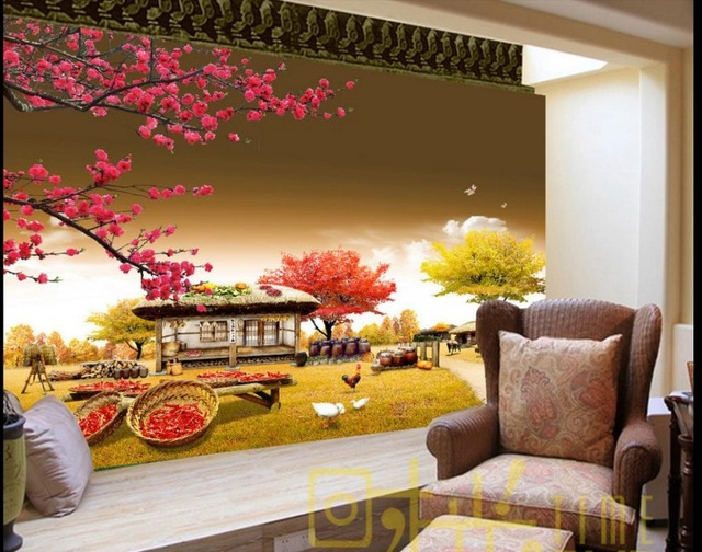 Custom 3d Wall Murals Wallpaper Small Farm House Bedroom Wallpaper  Non Woven Sticker Wallpaper