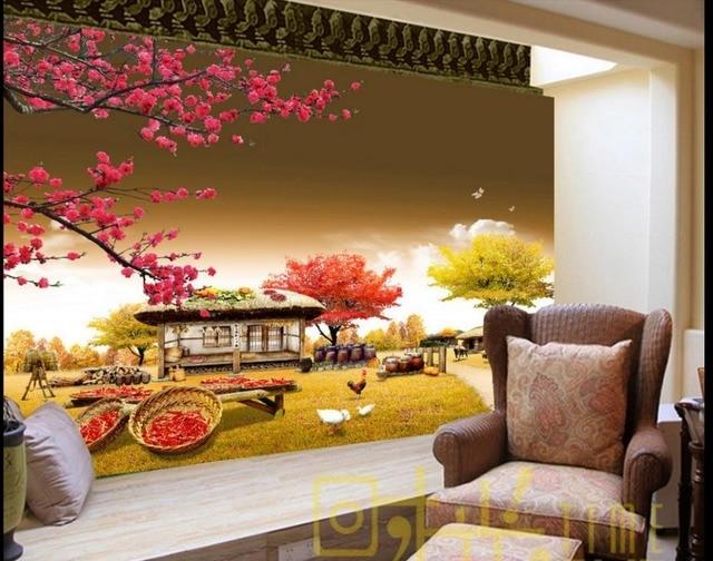 Custom 3d wall murals wallpaper small farm house bedroom wallpaper non woven sticker wallpaper