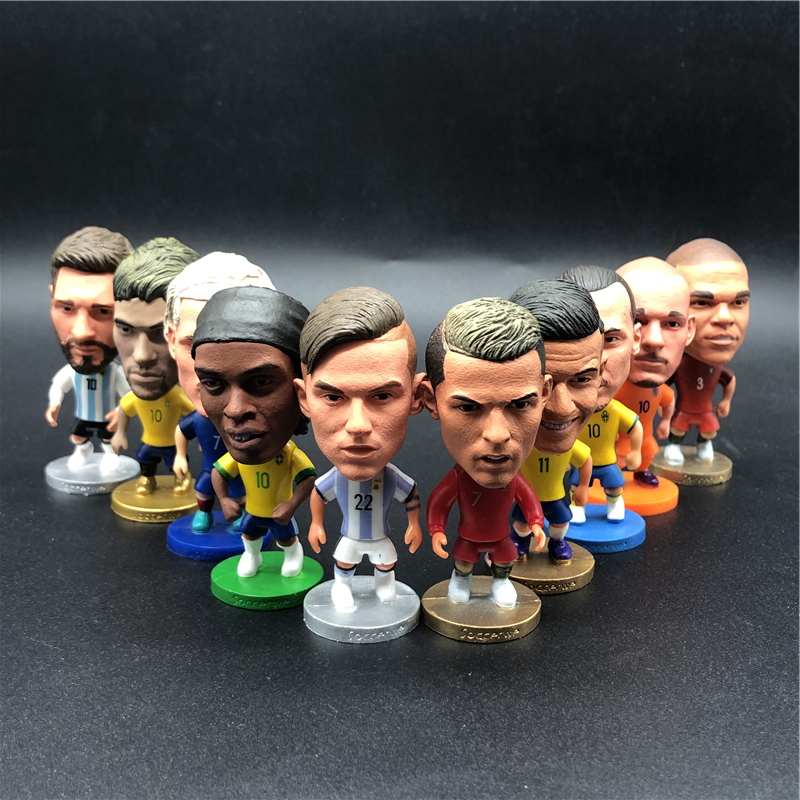 10pcs Soccerwe 6.5 Cm Height Soccer Cartoon League Star Doll Van Dijk Ronaldo Mane Salah Navas Hazard Mbappe Figurine For Toy