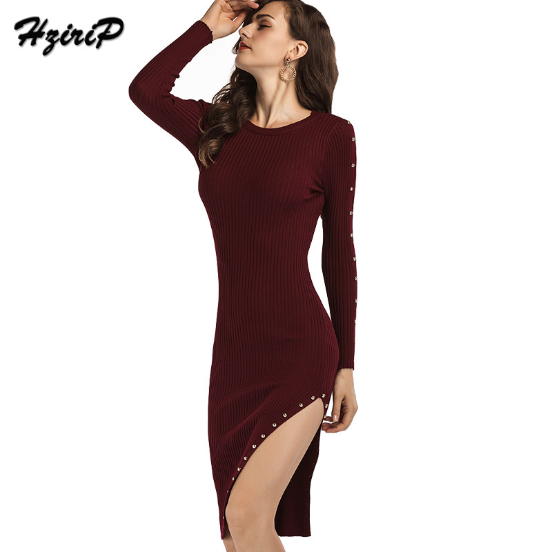 Hzirip 2017 Autumn Women O-neck Sheath Hip Package Knitted Dress Casual Warm Side Slit Skinny Knee-length Dresses High Quality black cowl neck high slit sheath dress
