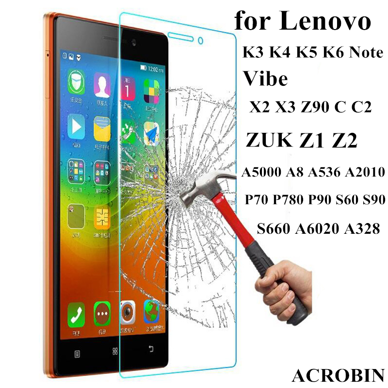 9H Tempered Glass Screen Protector Film Case For Lenovo K3 K4 K5 K6 Note Vibe X2 X3 Z90 C C2 ZUK Z1 Z2 A2010 A5000 A2020 A808T