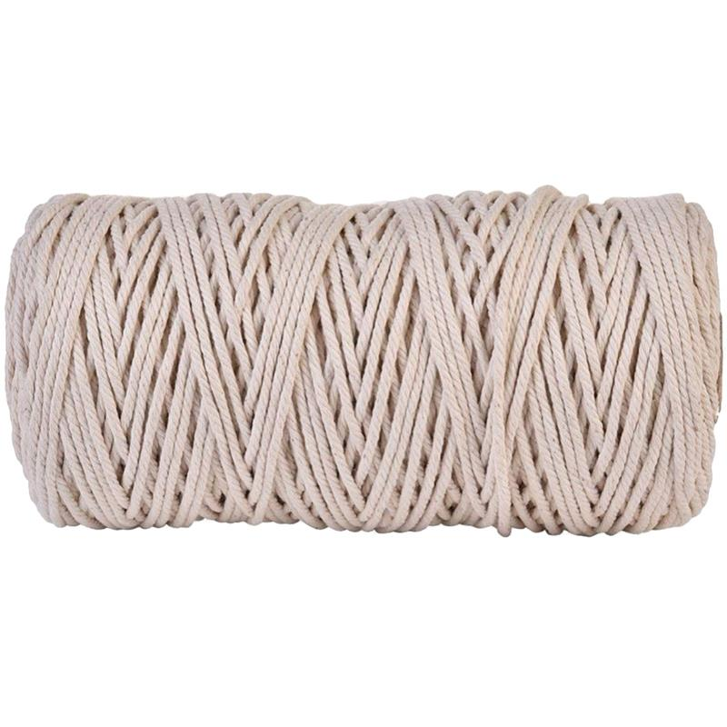 ABDB-3Mmx200M Natural Handmade Cotton Cord Macrame Yarn Rope Diy Wall Hanging Plant Hanger Craft String Knitting