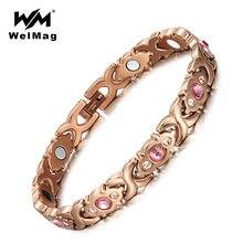 Женский браслет welmag из нержавеющей стали с кристаллами золотая