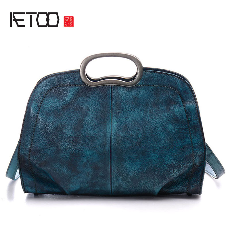 AETOO Europe and the United States retro women multi-color shoulder bag hand-wiping color tannery oblique cross handbag hot fashion europe and the united states fashion oil wax kraft handbag vertical section zipper multi color ladies shoulder messe