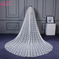 Gorgeous Wedding Veils 2018 Fashion Feather Lace Printed Bridal Long Veils With Comb Vestido China Aliexpress Real ZV008