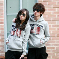 New 2015 Brand Men And Women American Flag New York Hoodies Men Sports Thick Cotton Hoodie