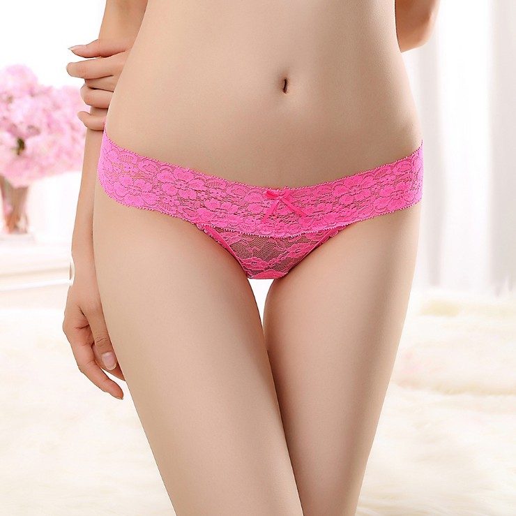 Hot sale 6 color lace cotton sexy V- thongs women G-string transparent underwear ladies sexy panties Briefs