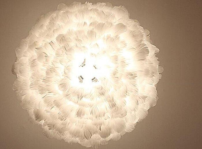 Kreative weiße feder einfach pendelleuchte künstlerische lampe für