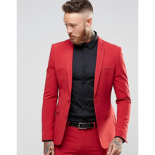 Red Men's Prom Tuxedos suits 2 Pieces wedding suits for men Two Button Blazer Formal Dinner Costumes For mens 2017 jacket+pant