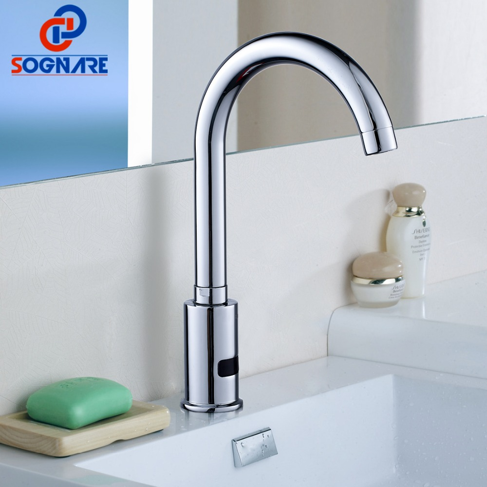 SOGNARE Bathroom Basin Faucet Automatic Infrared Hands Touch Free Sensor Faucets Hot Cold Mixer Battery Power Bath Sink Tap D214 new bathroom automatic hands touch free sensor basin chrome brass sink mixer tap faucets mixer auto sensor faucet sf 08