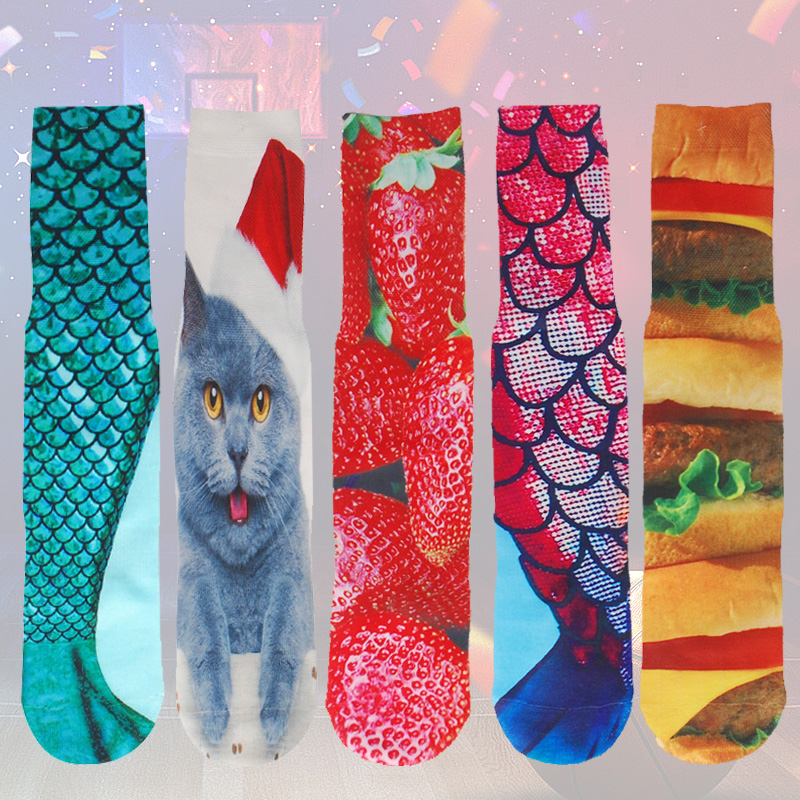 3d Printing Sporty Compression Socks For Men Fish Cat Flamingo Candy Hamburger Printed Thickened Towel Bottom Novelty Sock Underwear & Sleepwears