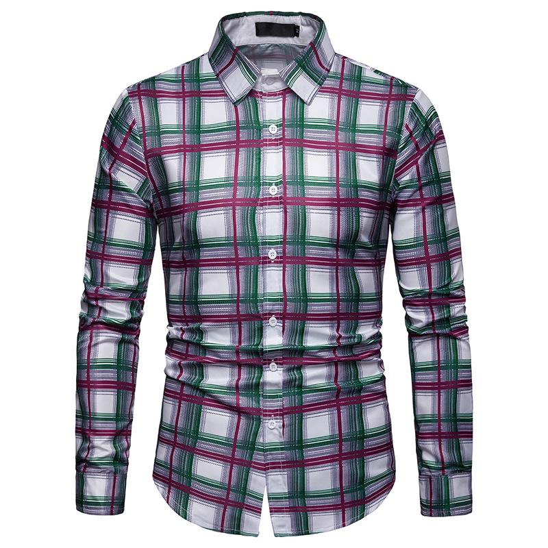 Plaid New Model Shirts Mens Dress Casual Long Sleeve Hawaiian Shirts Check Blouse Men Purple Green