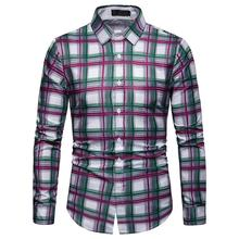 Plaid New model Shirts Mens Dress Casual Long sleeve Hawaiian Check Blouse Men Purple Green