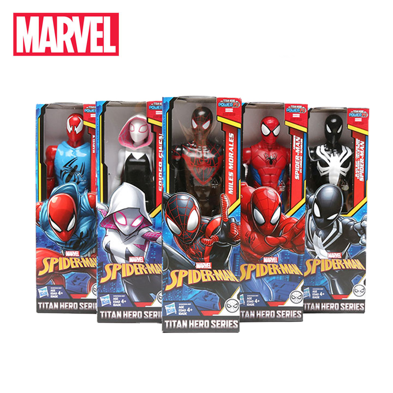 5pcs 30cm Marvel Black Suit Spiderman Figure Toys Avengers Titan Hero Power FX Miles Morale Spider-man Spider-gwen Model Toy(China)