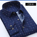 Men's dress shirts 2016 new brand of high quality fashion Slim lapel long-sleeved cotton shirt size M Commerce m-4XL