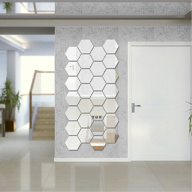 Factory Price! 12pcs Hexagon Mirror Style Silver Removable Decal Vinyl Art Wall Sticker Home Decor