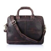 Nesitu Vintage Genuine Leather 15.6'' Laptop Men briefcase Portfolio Office Work Crazy Horse Leather Men Messenger Bags #M8013