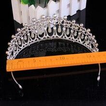 Hair Accessories Tiara Headbands Jewelry Vintage Silver Crown Crystal Pearl Headband