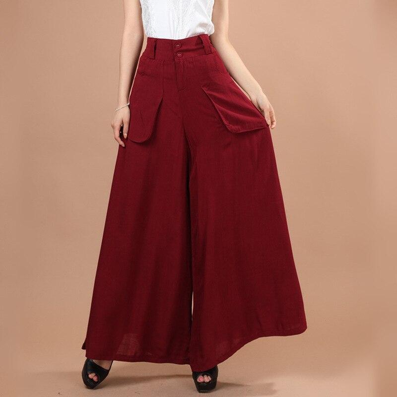 Lino Mujer Stretch Ropa Pierna 2018 Algodón Casual De Las rojo Ancha Negro Pantalones Elegante Mujeres PAwXqYvpx